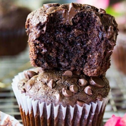 Stacked double chocolate muffins