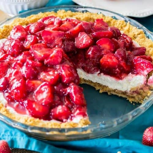 Strawberry cream cheese pie with slice missing