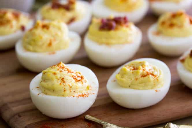 Deviled Eggs on a platter ready to serve