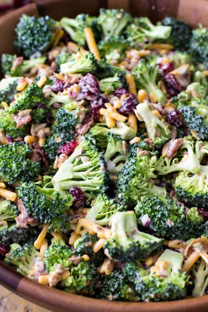 broccoli salad in wood bowl