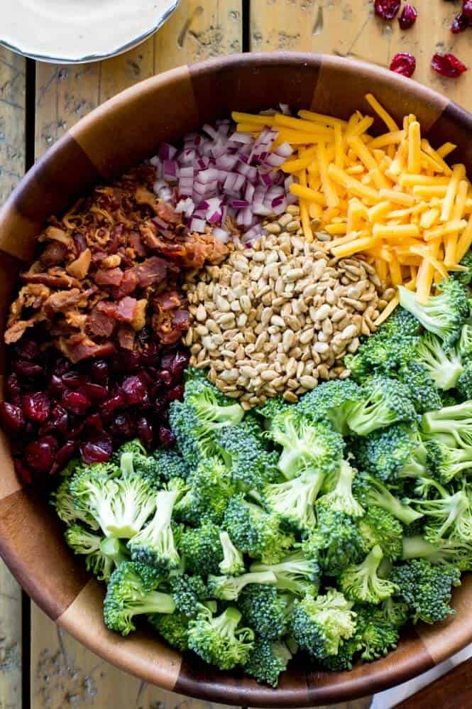 Ingredients for making broccoli salad with bacon and cheese
