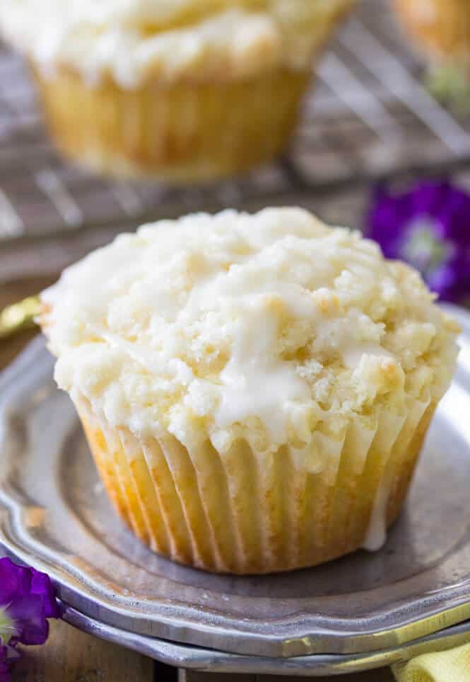 Lemon muffin on a plate