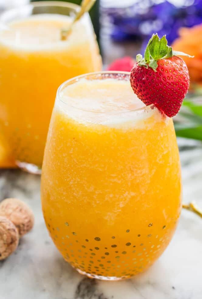 Peach bellini in glass