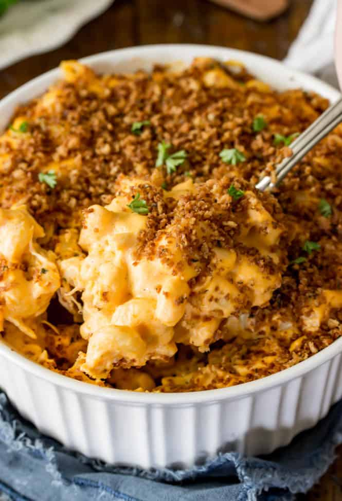 Buffalo Chicken Mac and Cheese out of the oven with crispy buttery panko topping