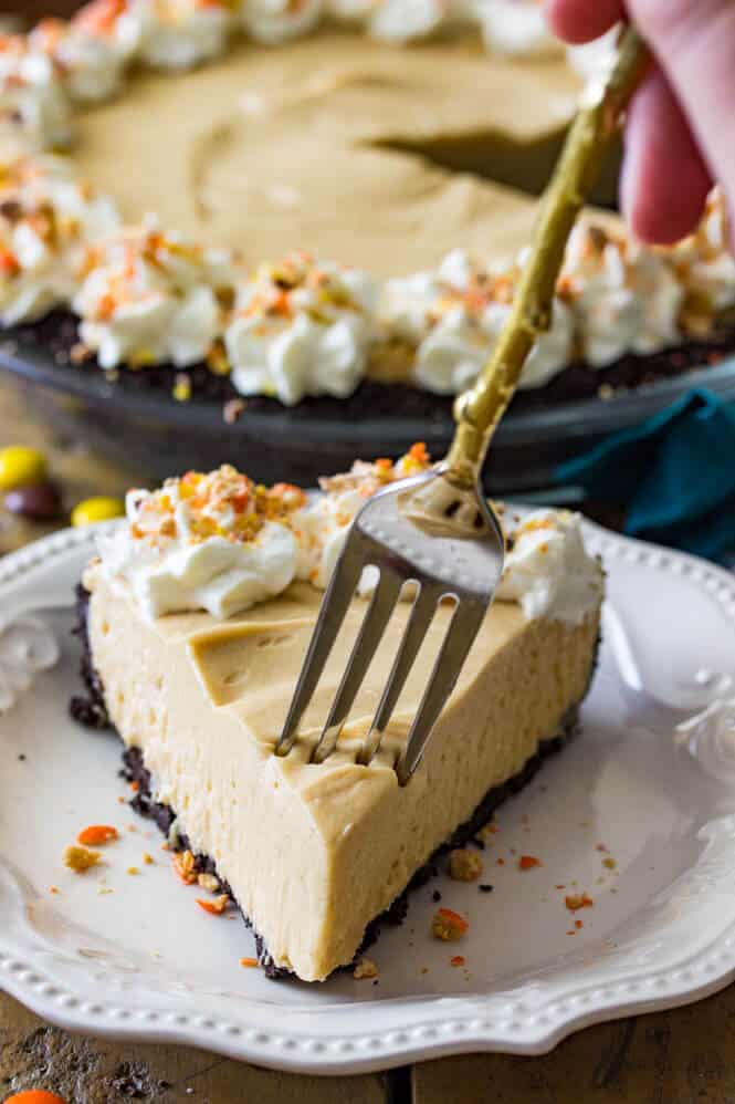 forkful of peanut butter pie to show the pie's soft creamy texture