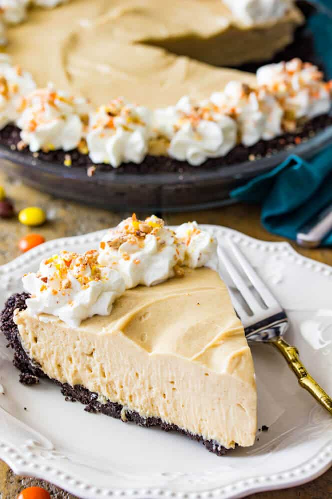 A slice of peanut butter pie