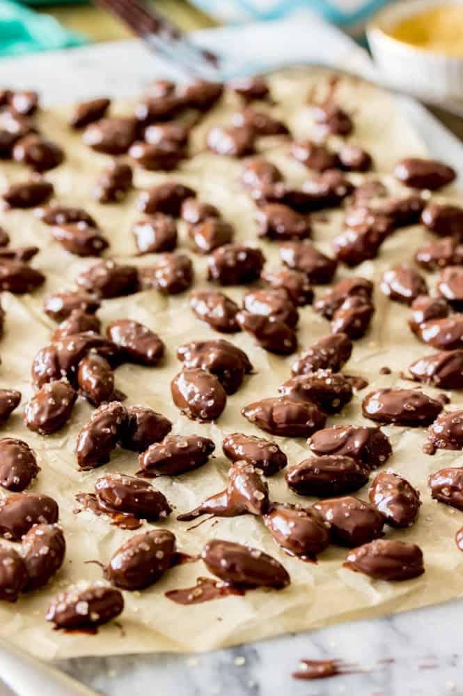 Sea Salt & Turbinado Sugar Dark Chocolate Almonds Drying