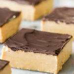 Peanut butter bars on marble surface
