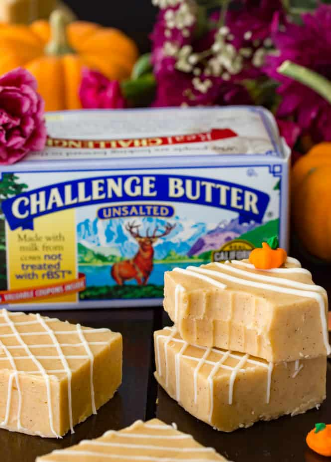Pumpkin fudge with butter box behind it