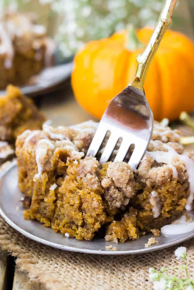 Pumpkin coffee cake with fork