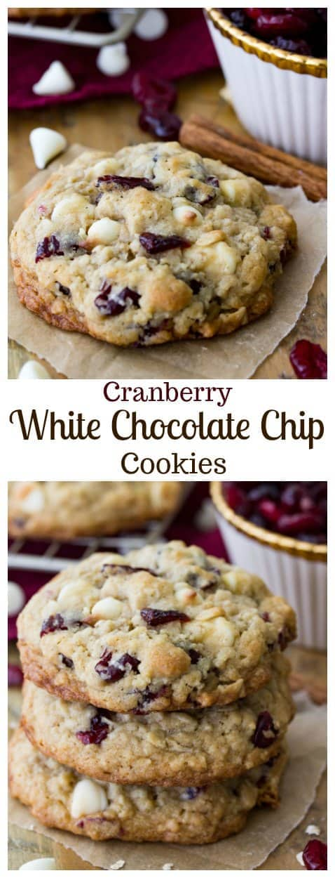 White Chocolate Cranberry Oatmeal Cookies || Sugar Spun Run