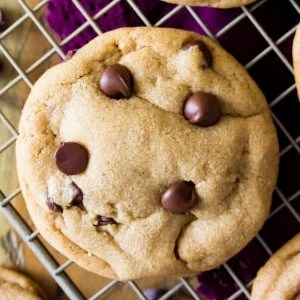 Cookie butter chocolate chip cookie on cooling rack