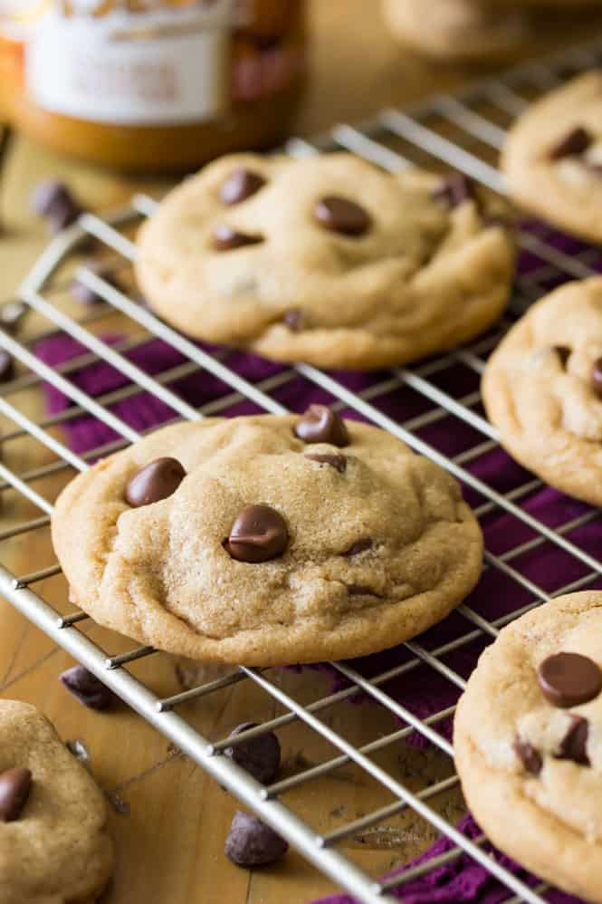 Freshly baked cookie butter cookie on cooling rack