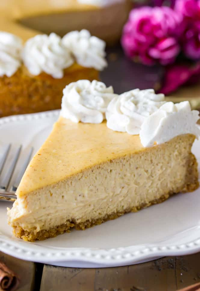 slice of pumpkin cheesecake on plate