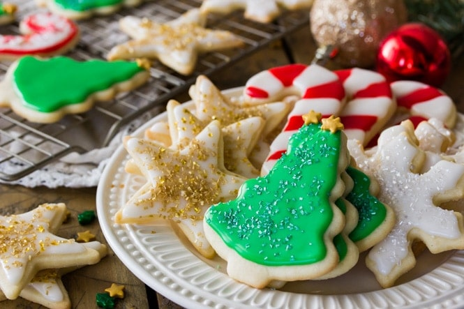 A platter of festive Christmas Sugar Cookies