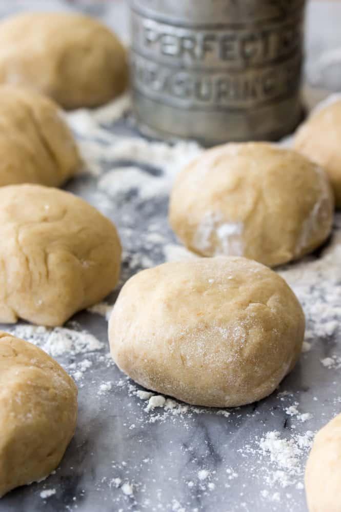 Freshly rolled honey wheat roll dough