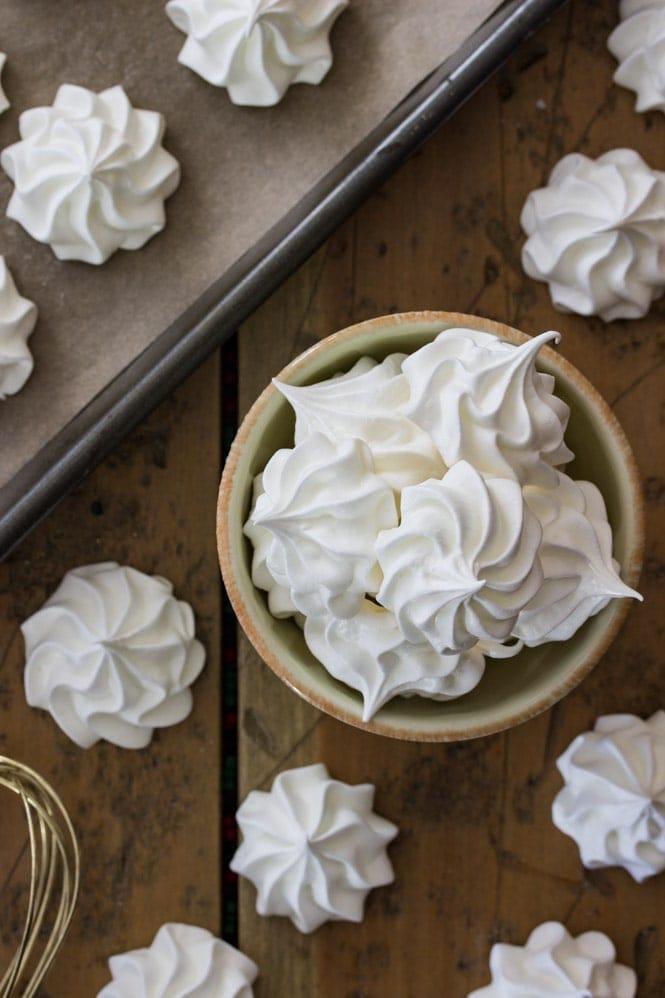 Overhead of meringue cookies in bowl