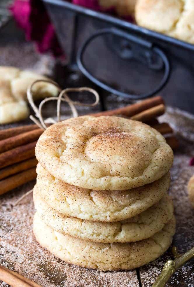 A stack of soft, chewy Snickerdoodle Cookies || Sugar Spun Run
