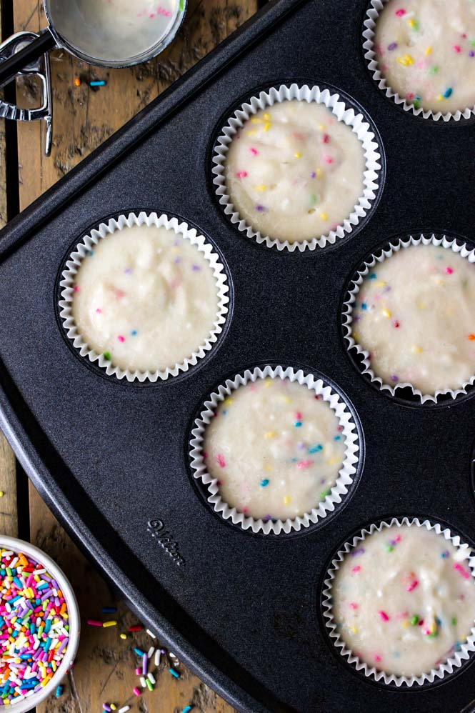 Confetti Cupcake batter -- ready to be baked