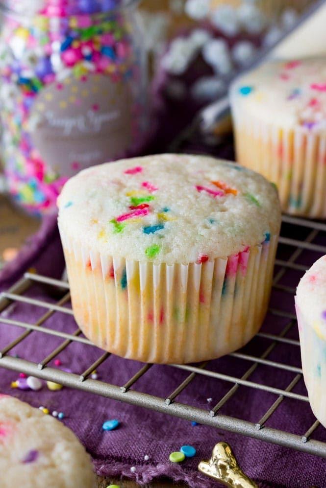 Freshly bake confetti cupcake
