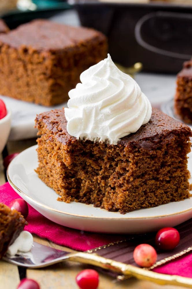 Slice of gingerbread recipe with a bite out of it