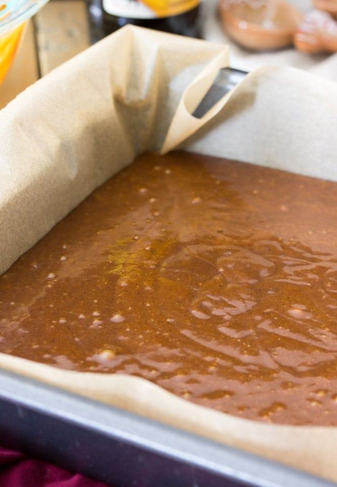 Gingerbread batter, ready to go into the oven