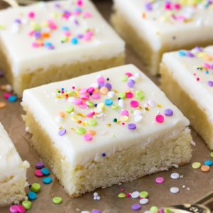 Sugar cookie bar square with white icing and sprinkles
