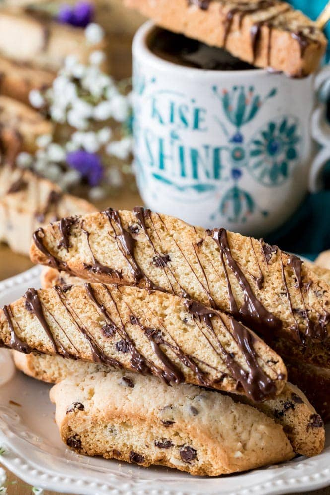 A plate full of chocolate drizzled biscotti