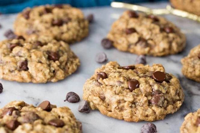 Oatmeal Chocolate Chip Cookies on Marble