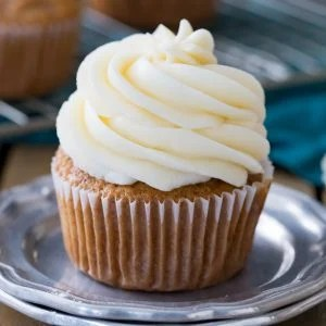 Cream cheese frosting on a cupcake