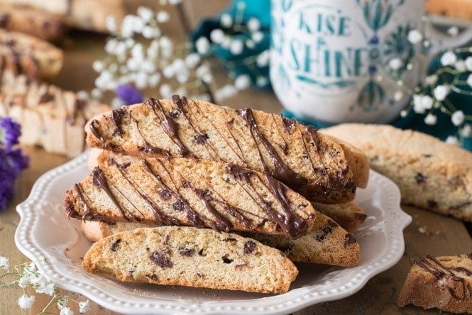 Biscotti on plate, drizzled in chocolate