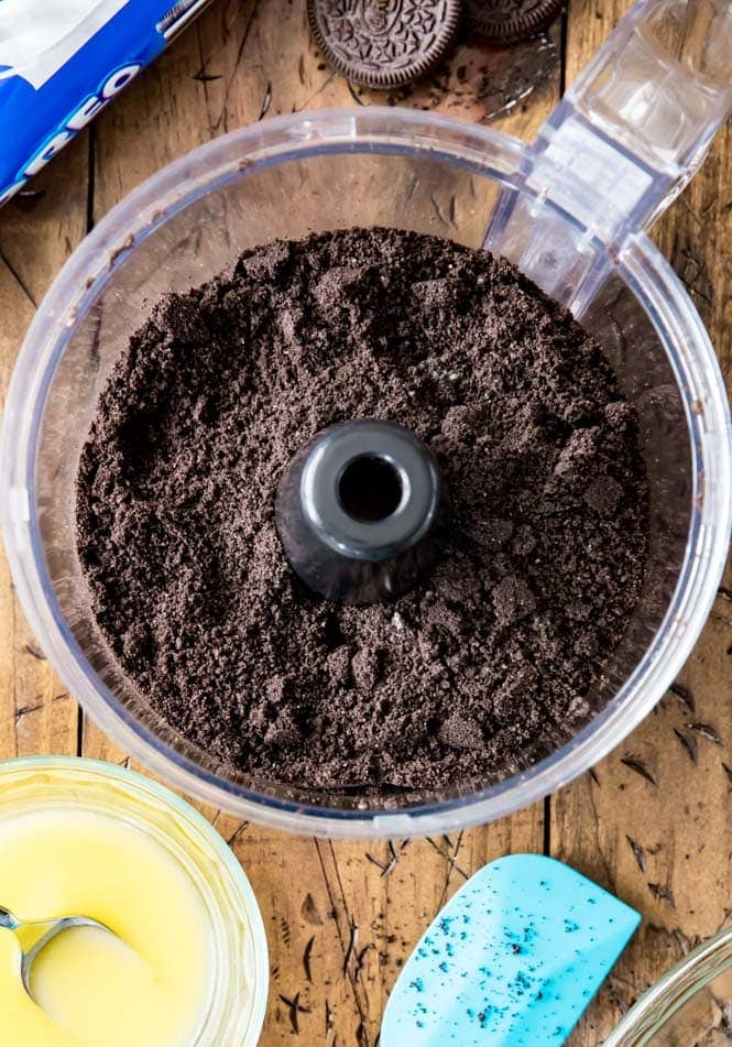 Oreo cookie crumbs for an Oreo crust