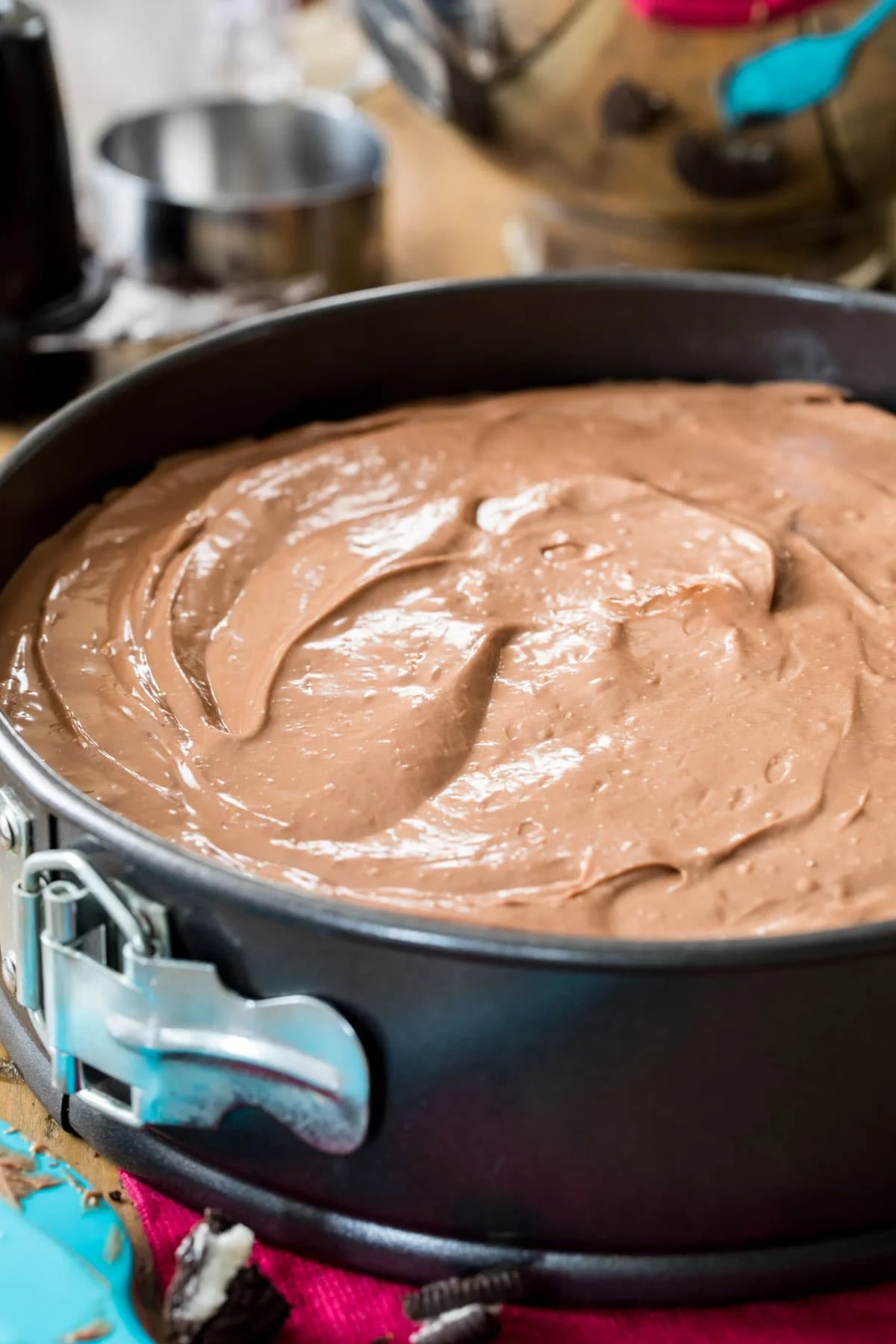 chocolate batter in springform pan