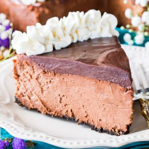 Slice of chocolate cheesecake on a plate