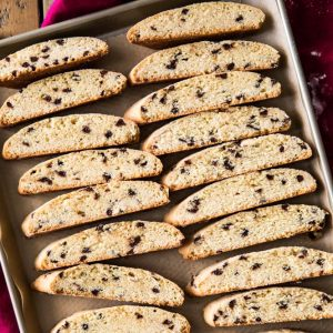Biscotti slices on a baking sheet