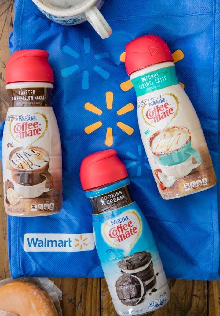 Coffee mate creamers laid out on walmart bag