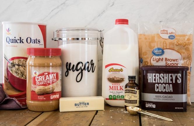 Ingredients for No-Bake cookies recipe