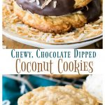 Chew, Chocolate Dipped, coconut cookies