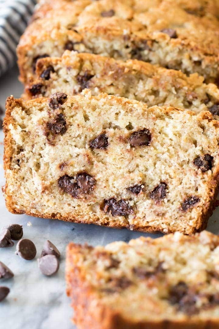 A melty slice of Chocolate Chip Banana Bread!