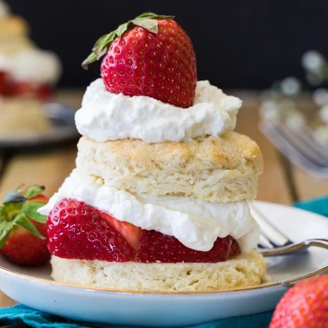 Strawberry shortcake on plate
