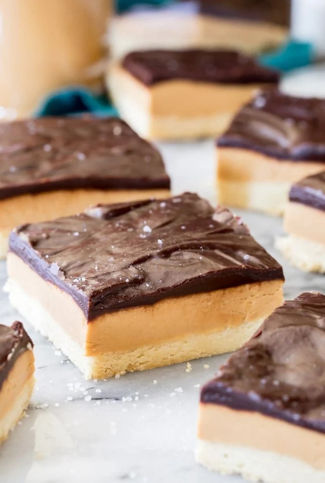 Peanut Butte rShortbread Bars topped with fudgy chocolate ganache and a sprinkle of sea salt