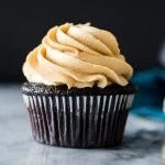 Dark chocolate cupcake with peanut butter frosting