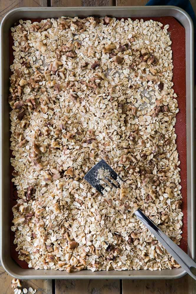 Toasted oats and nuts for making granola bars