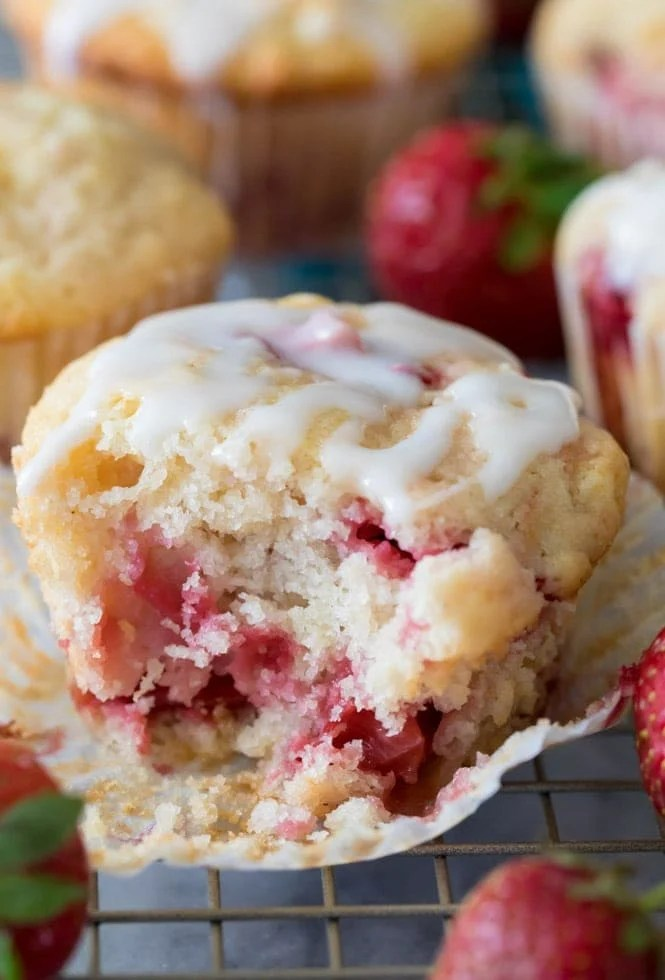 inside of a strawberry muffin