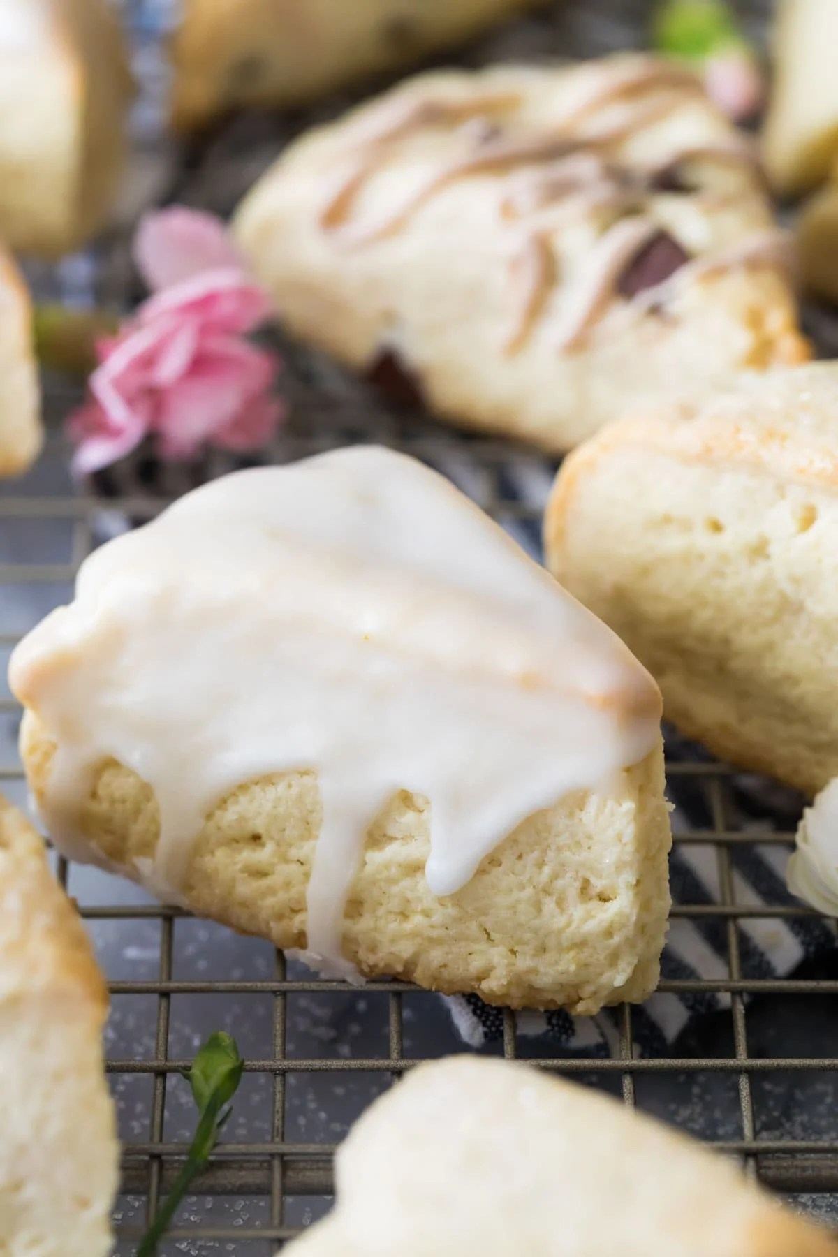 scone with glaze on cooling rack