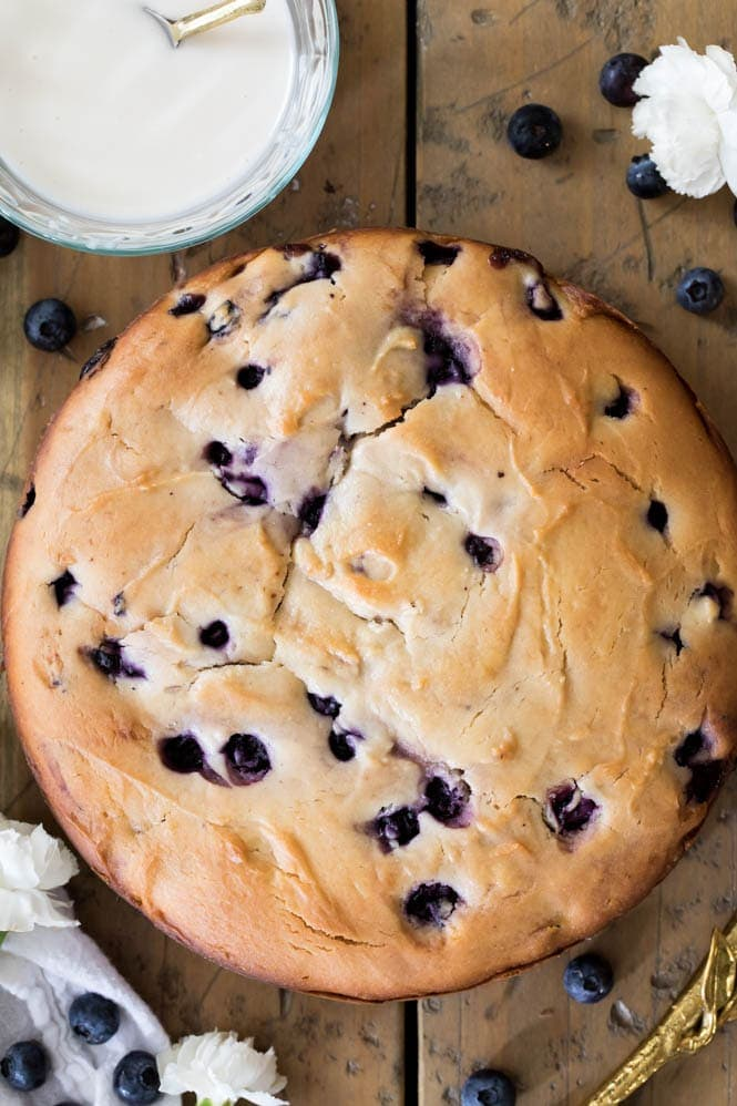 Freshly baked blueberry cake