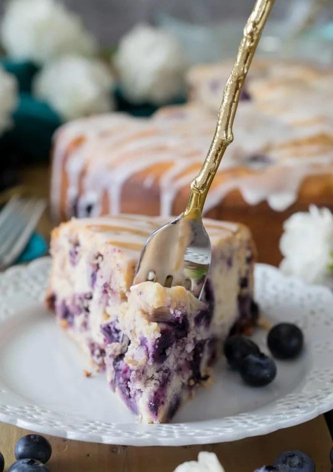 Fork full of blueberry cake