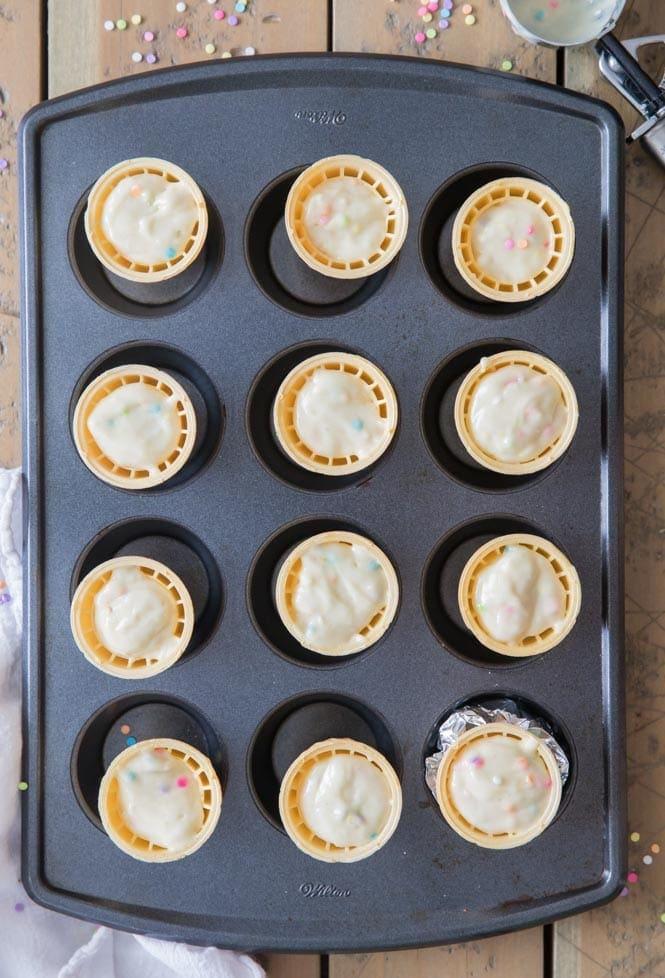 Cupcake batter in ice cream cones
