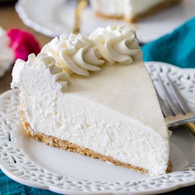 No bake cheesecake slice