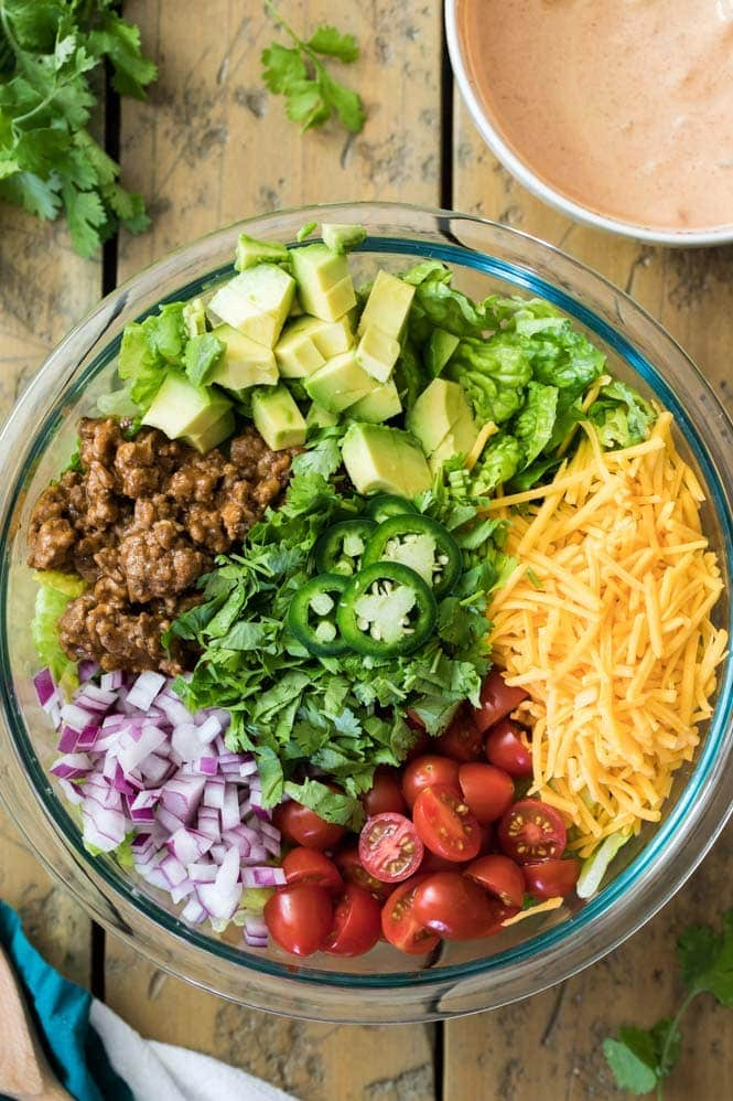 Taco Salad Ingredients in a bowl